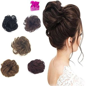 100% Remy Human Hair Wave Curly Messy Hair Extensions Band Flexible Scrunchie Bun Wrap For Bun Ponytails