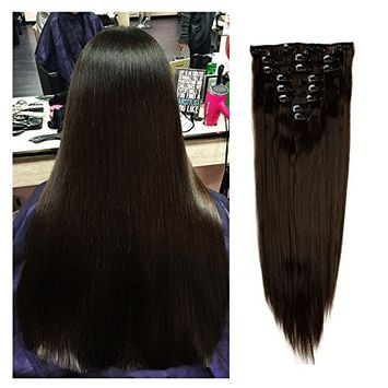 Haironline Fashion 23 Inches Straight Full Head One Piece 8 Pieces Clip in Hair Extensions Hairpieces Wigs - Dark Brown