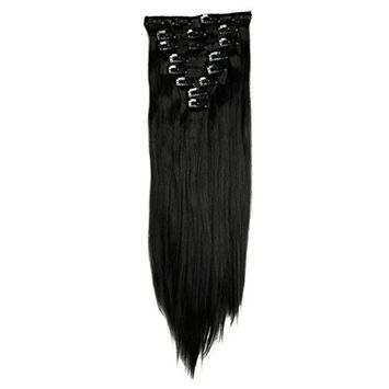 Haironline Fashion 23 Inches Straight Full Head One Piece 8 Pieces Clip in Hair Extensions Hairpieces - Natural Black
