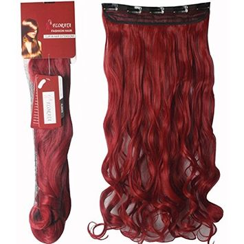 Haironline Curly 3/4 Full Head Synthetic Hair Extensions Clip On/in Hairpieces 5 Clips - Dark Red