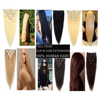 Haironline 7 Pieces Full Head Extensions Natural Real Set Human Hair Clip in Hairpieces Thick Full Head Long Soft Silky Straight 15clips Wigs for Women Fashion