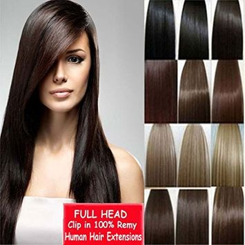 Haironline 8pcs 18 Clips 100% Remy Real Human Thick Hair Straight Extensions