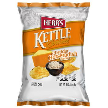 Herr's Cheddar Horseradish Kettle Cooked Potato Chips 8 oz Bags - Pack of 12