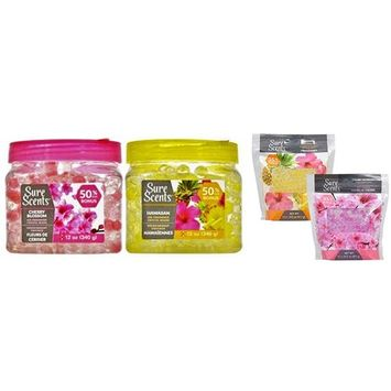 Odor Absorbing Neutralizing Air Freshener Crystal Beads with Refill Bags, Cherry Blossom and Hawaiian, 2 Jars / 2 Refills
