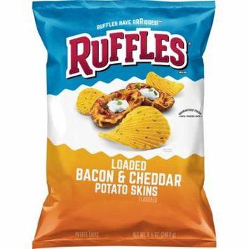 Ruffles Loaded Bacon & Cheddar Potato Skins Potato Chips, 8.5 oz Bag