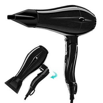 PARWIN PRO 1875W Hair Dryer Professional Salon Hair Blow Dryer Lightweight Fast Dry Low Noise Blow Dryer with DC Motor and Concentrator Negative Ion 2 Speed 3 Heat Settings, Black
