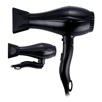 PARWIN Travel Hair Dryer with Foldable Handle 1875 Watt Tourmaline Ceramic Salon Blow Dryer with Concentrator Nozzles and 2 Speed Settings & Cool Shot Button Black