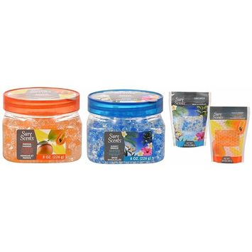Odor Absorbing Neutralizing Air Freshener Crystal Beads with Refill Bags, Papaya Mango and Sunny Breeze, 2 Jars / 2 Refills