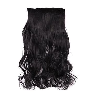 Natural Black One Piece Clip-in Wavy Hair Extensions | 18 inches long | By Hollywood Hair
