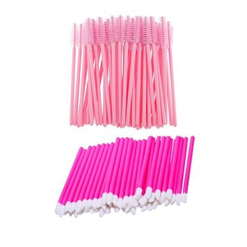 MagiDeal 50 Pieces Disposable Lip Gloss Brushes + 50 Pieces Eyelash Mascara Wands