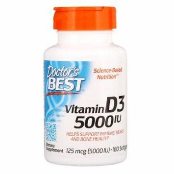 Doctor's Best, Vitamin D3, 125 mcg (5000 IU), 180 Softgels(Pack of 12)