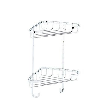 Croydex Small Chrome 2-Tier Corner Basket Shower Caddy, 5 Year Rust Free Guarantee [Small Two Tier Corner Basket]