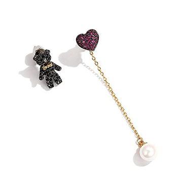 Auch A pair of Cute Bear & Loving Heart Earring, Bear Stud Earrings & Loving Heart Dangle Earrings