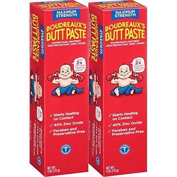 Boudreaux's Butt Paste Diaper Rash Ointment - Maximum Strength - Contains 40% Zinc Oxide - Paraben and Preservative-Free - 4oz (2 Pack)