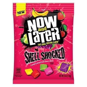 Now & Later Shell Shocked Fruit Chewy Bites Candy, 6 Ounce Bag, Pack of 12