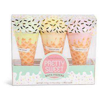 Pretty Sweet Set of 3 Assorted 45g Ice Cream Cone Bath Fizzers