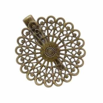Antiqued Brass Alligator Hair Clips With Filigree Flower Adornment - 2 Inch (4)