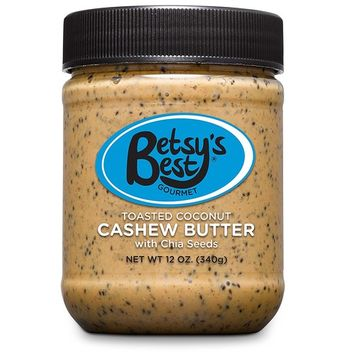 Gourmet Toasted Coconut Cashew Butter by Betsy's Best - Non-GMO - Toasted Coconut, Chia Seeds, Organic Stevia & Demerara Sugar, Vegan Friendly, Best Tasting Nut Butter for Kids Snacks [Coconut]