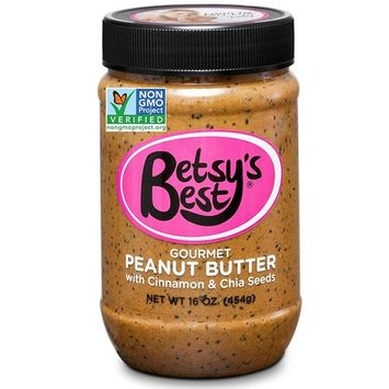 Gourmet Cinnamon Peanut Butter w/ Chia Seeds by Betsy's Best 16 OZ - All Natural and GMO Free [Cinnamon Chia]