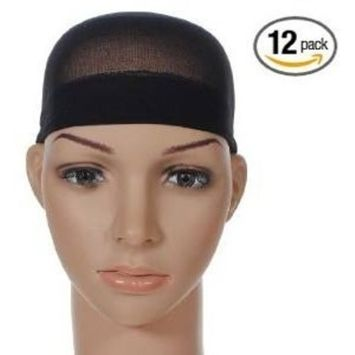 BlueTop(TM) Wig Cap (12 Pack) Color Black