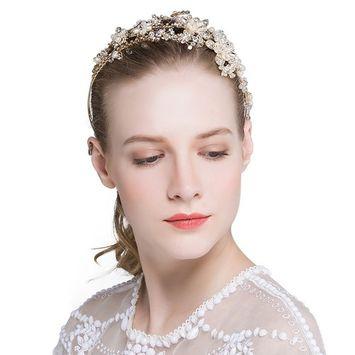 Bridal Headband, BlueTop Pearl Crystal Rhinestone Flower Wedding Hairpieces for Party Dance Evening Prom