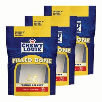 CHEWY LOUIE Small Bone Filled with Cheese & Bacon 3pk - Natural Beef Bone with Protein Rich Filling. Long-Lasting with Superior Dental Support Dog Treats.