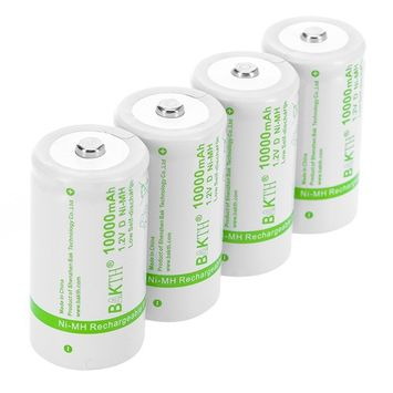 BAKTH Upgraded 10000mAh D Size High Performance NiMH Pre-Charged Low Self-Discharge Rechargeable Batteries Household Devices (4 Pack)