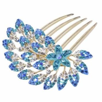Hair Combs, Coxeer Women Girls Bride Crystal Jewelry Leaf Hair Comb Clip Pin Rhinestone Claw Accessories(Blue)