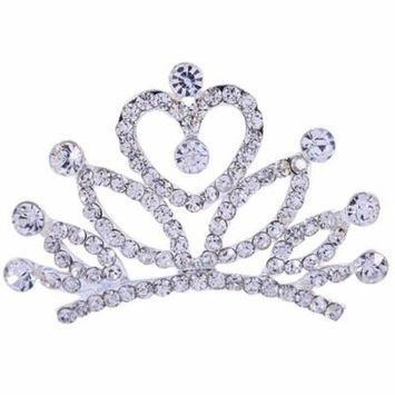 Coxeer Wedding Party Children Tiara Crown Flower Girl Hair Comb with Rhinestone for Girls