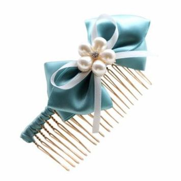 Coxeer Cute Handmade Ribbon Bow Hair Comb with Pearls Flower Valentine's Day Gift for Girlfriend Women Ladies Girls