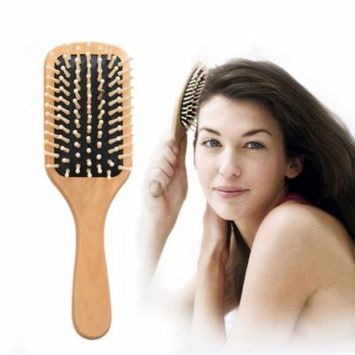 Coxeer Wooden Hair Brush Anti-static Wood Hair Comb Paddle Hair Comb Massage Hair Comb for Women