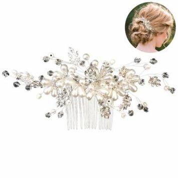 Coxeer Wedding Hair Comb Decorative Pearl Flower Hair Side Comb Bridal Hair Accessories for Women Ladies