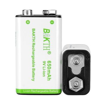 BAKTH 9V Advanced Li-ion Battery 9 Volt 650mAh High Capacity Low Self-Discharge Lithium-ion Rechargeable Batteries