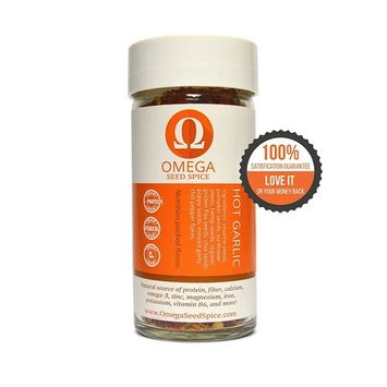 2 Pack - Omega Seed Spice™ Seed-based Superfood Hot Garlic Seasoning - Nutrition-packed Flavor - High In Protein, Fiber, Essential Vitamins, Minerals & Amino Acids [Hot Garlic Seasoning]