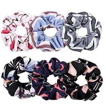 Whaline Large Hair Scrunchie Bobbles Hair Bands Flower Flamingos Ponytail Chiffon Holder, 6 Colors