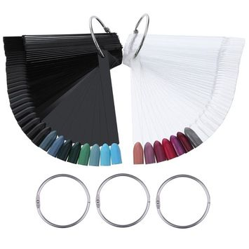 Hotop 100 Pieces Nail Art Tips Polish Display Stick Fan with 5 Rings for Practice Nail Art Designs