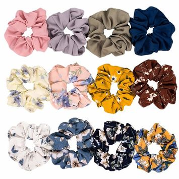 Whaline 12 Pack Chiffon Flower Hair Scrunchies Large Hair Bow Elastic Hair Bands Ponytail Holder for Women and Girls, 12 Colors