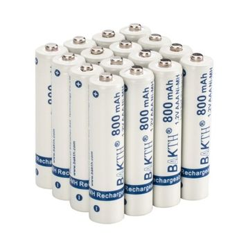 BAKTH 800mAh 1.2V AAA High Performance NiMH Cycle Low Self-Discharge Rechargeable Batteries Household Devices (16 Pack)