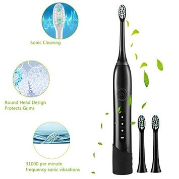 Guisee Electric Toothbrush Sonic Deep Cleaning Rechargeable, 2 Minute Timer, 3 Cleaning Modes, 3 Replacement Heads