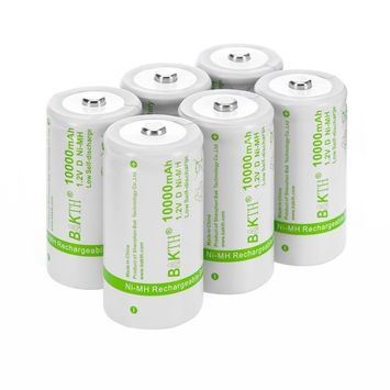 BAKTH Upgraded 10000mAh D Size High Performance NiMH Pre-Charged Low Self-Discharge Rechargeable Batteries Household Devices (6 Pack)