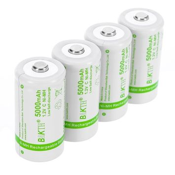 BAKTH Upgraded 5000mAh C Size High Performance NiMH Pre-Charged Low Self-Discharge Rechargeable Batteries Household Devices (4 Pack)