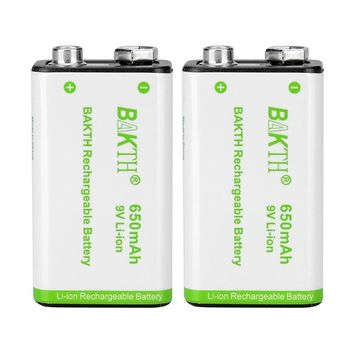BAKTH 9V Advanced Li-ion Battery 9 Volt 650mAh High Capacity Low Self-Discharge Lithium-ion Rechargeable Batteries (2 Pack)