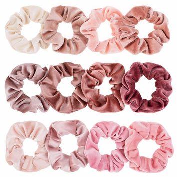 Whaline Blush Theme Hair Scrunchies Velvet Elastics Pink Lovers Scrunchy Bobbles Soft Hair Bands Hair Ties Hair Accessories for Women or Girls
