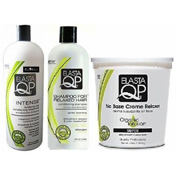 Elasta QP 3PCS SALON SUPER SET (32 oz. Shampoo for Relaxed Hair and Intense. Includes 4 lbs No Base Creme Relaxer (SUPER). Free African Pride Gel Included