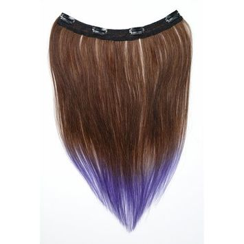 Tressecret Ombre Tail Dip-Dye Clip In Extension, 16 inches 18 inches, Brown and Hot Pink