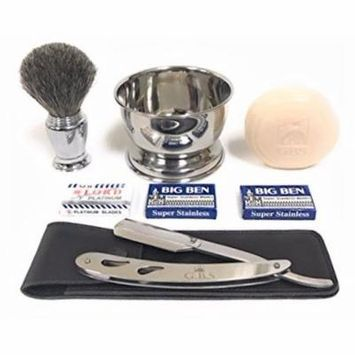 5 Piece Shaving Set - Comes with Gift Box, Includes Stainless Barber Shavette, Badger Chrome Brush, Chrome Shave Soap Bowl , Leather Razor Case + Safety Blades and GBS Soap!