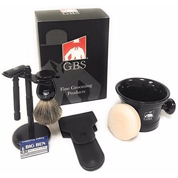 GBS Men's Grooming Set - Black Matte Double Edge Razor w/Travel Case + Safety Blades, Badger Bristle Shave Brush, Heavy Duty Lather Mug, Black Stainless Brush & Razor...