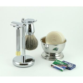 Shaving Gift Set with Merkur 510 Progress Safety Razor and Chrome Bowl, Badger Brush and Pedestal Stand. Includes GBS Natural Ocean Driftwood Shaving Soap and 10 Double Edge Blades: Beauty