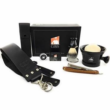 GBS Men's Shaving Gift Set - Dovo Redwood Prima Klang 1065831 - Black Ceramic Shaving Mug- 3 Oz All Natural Soap - Alum block, case, Synthetic Brush,Stand, and Paste!
