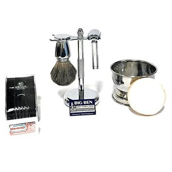Shave & Groom Set with Travel DE Razor 570 Pure Badger Brush, Brush & Razor Stand with Shaving Bowl + 10 Double Edge Razor Blades